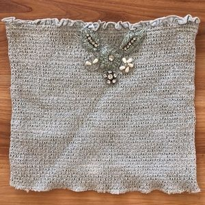 Free People Ruched Beaded Crop Top